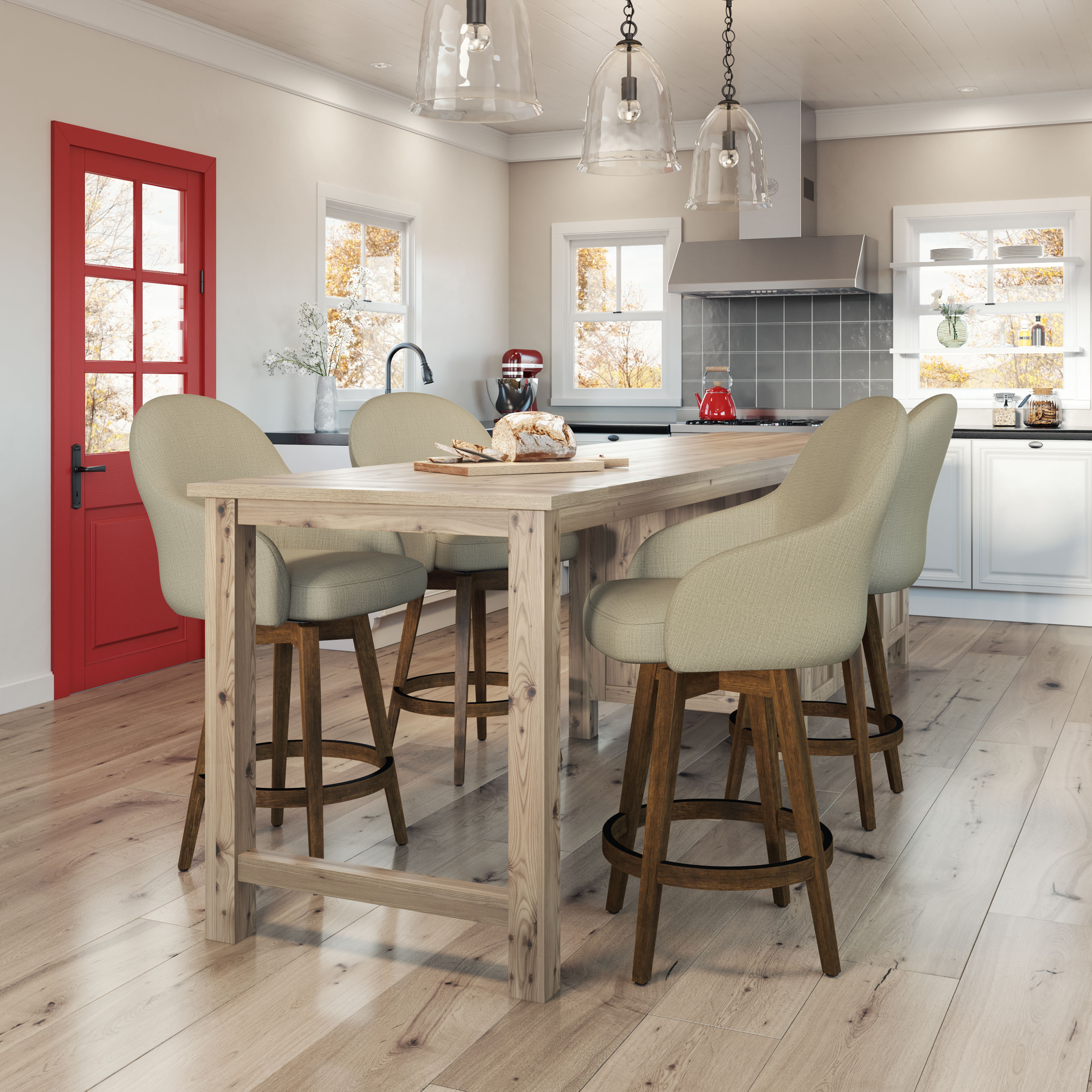 Amisco Collin Swivel Stool With Wood Base Dinettes Unlimited