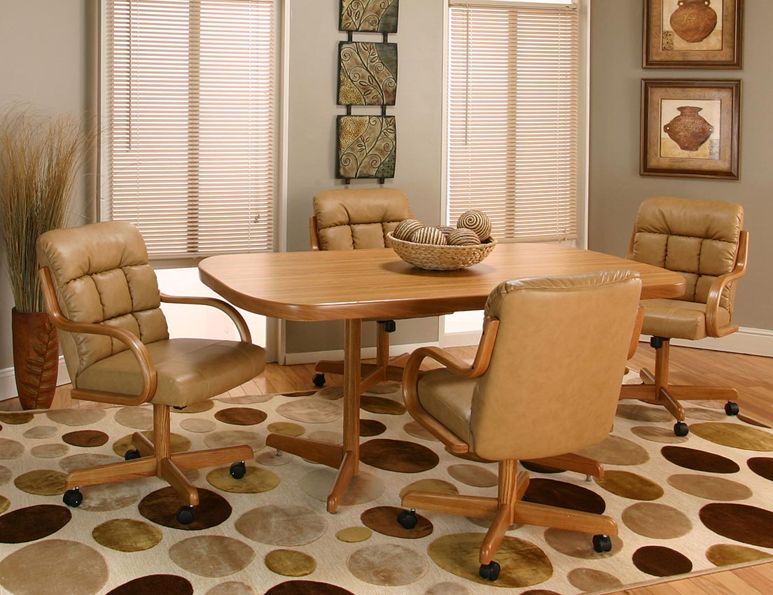 Caster chair paradise come in and swivel tilt while you for Dining room table with swivel chairs