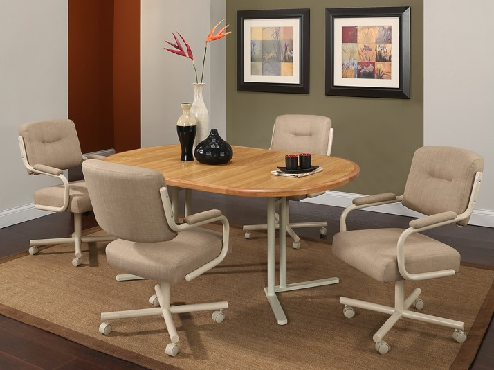Pastel Havana Caster 5pc Dining Set Dinettes Unlimited