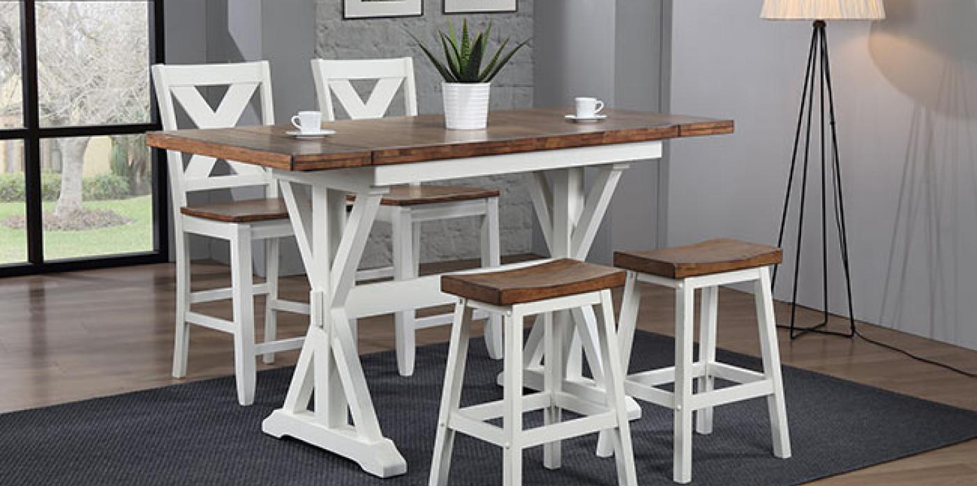 Pacifica Counter Height 5pc Set Rustic Brown/ White
