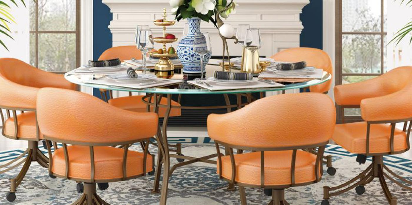 Dining Room Set With Rolling Chairs, Dining Room Sets With Roller Chairs