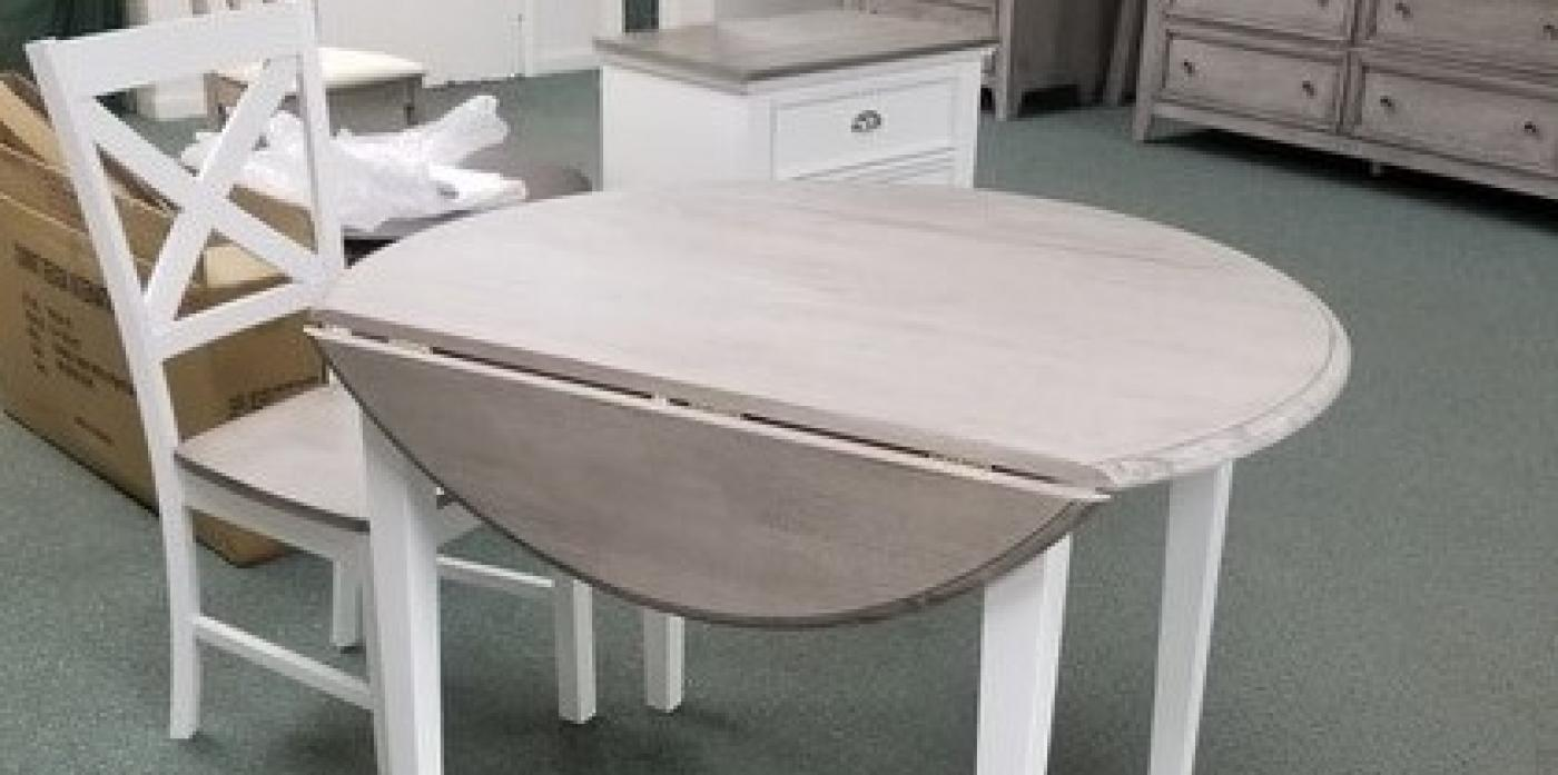 GRAY/ WHITE 4 LEG DROP LEAF W/ GRAY WOOD SEAT/ WHITE