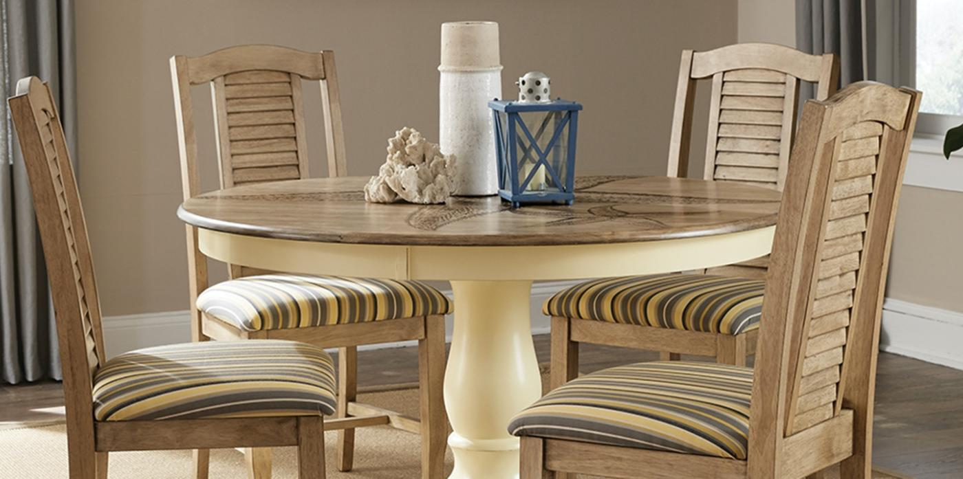 "48"" ROUND PEDESTAL TABLE W/ SEASIDE CHAIR BLONDE & CANARY"