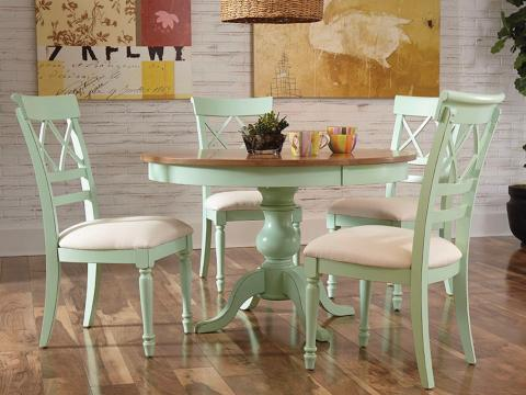 """48"""" Round Maple Pedestal Table w/ X Back Chair"""