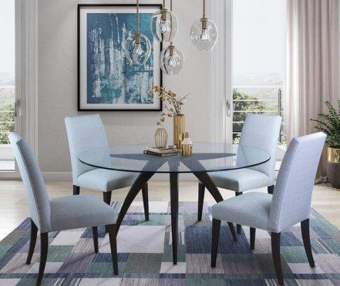 ELLA GLASS DINING BASE WITH 60SU SIDE CHAIR