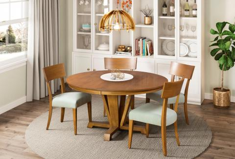 BOYLSTON DINING TABLE WITH 10 SIDE CHAIR FLAX FINISH