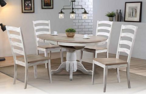 ARCHED LADDER BACK SIDE CHAIR WITH BUTTERFLY PEDESTAL TABLE