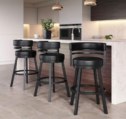 "AMBRIDGE 30"" BAR STOOL PEBBLESTONE/ BLACK PU VINYL"