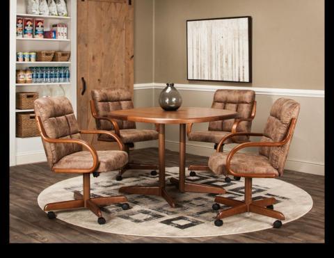 Pecan Rawhide 42 SQRD Solid Mica Wood Edge Table