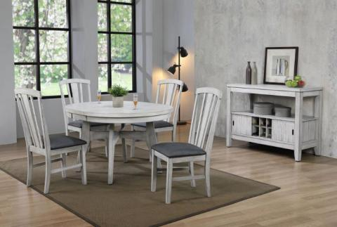 SUMMER WINDS 5PC ROUND TO OVAL WHITE-GRAY W/ FAN BACK CHAIR