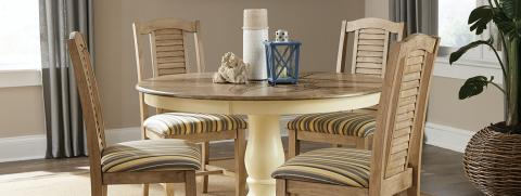 """48"""" ROUND PEDESTAL TABLE W/ SEASIDE CHAIR BLONDE & CANARY"""
