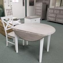 GRAY/ WHITE 4 LEG DROP LEAF W/ GRAY WOOD SEAT/ WHITE